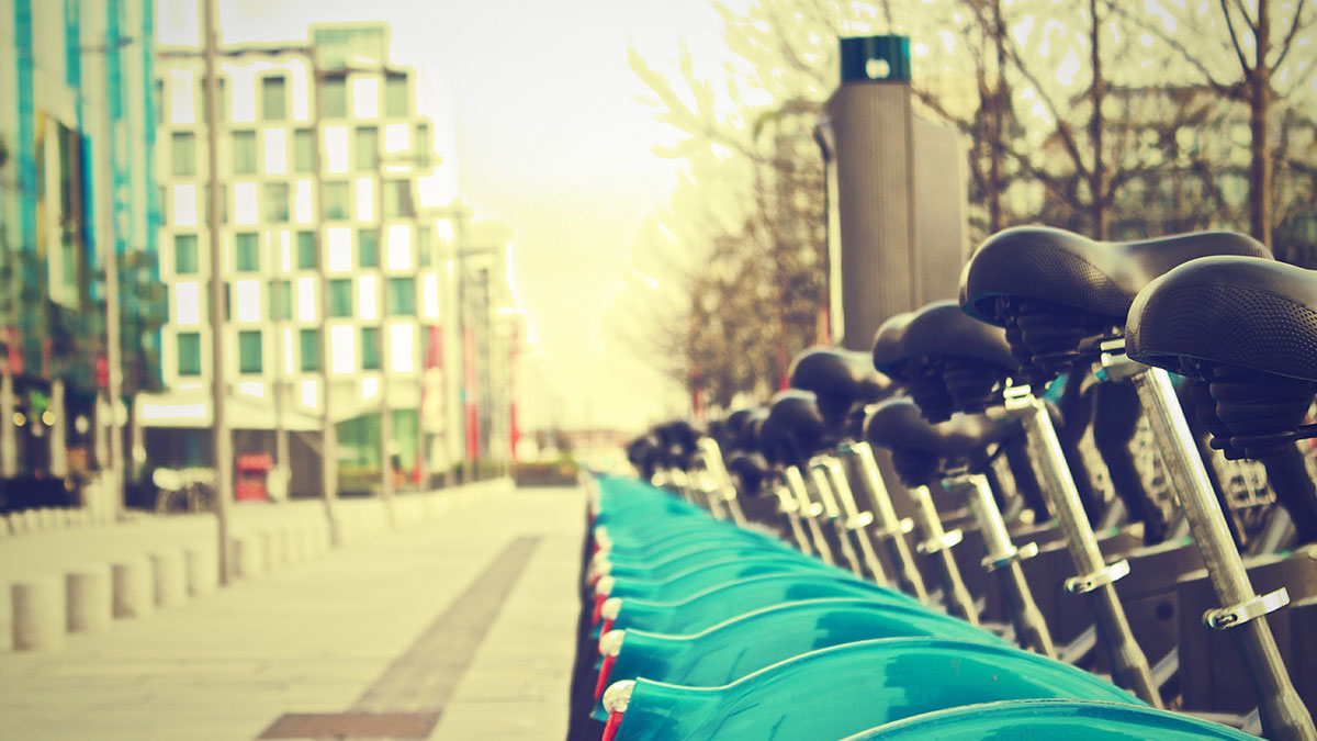 Bicycles parked on a city street